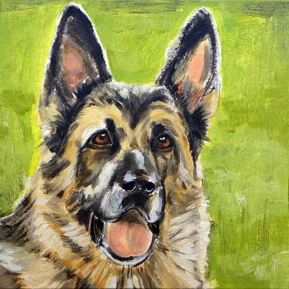 Pet Portrait Painting. Retrato de Cleo. Óleo sobre madera. 2010.