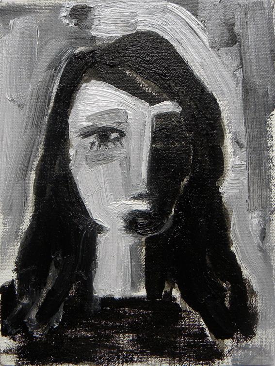 Cabeza de mujer. Tête de femme. Óleo sobre tabla entelada. 2010.