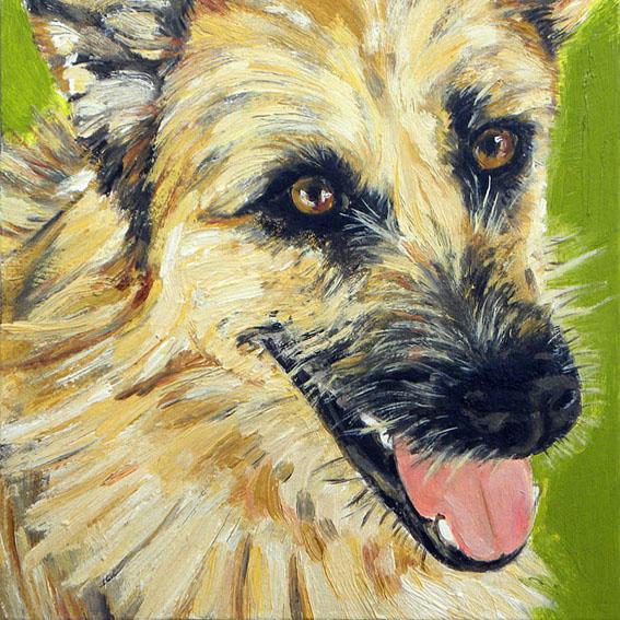 Pet Portrait Painting. Retrato de Txusa. Óleo sobre madera. 2010.
