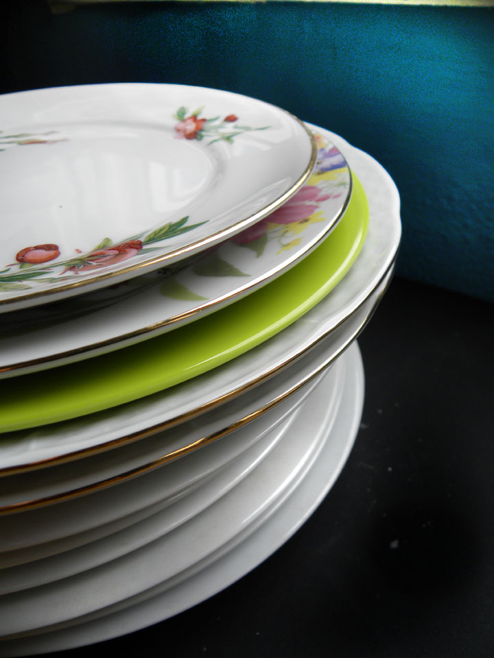 Porcelain dishes stacked