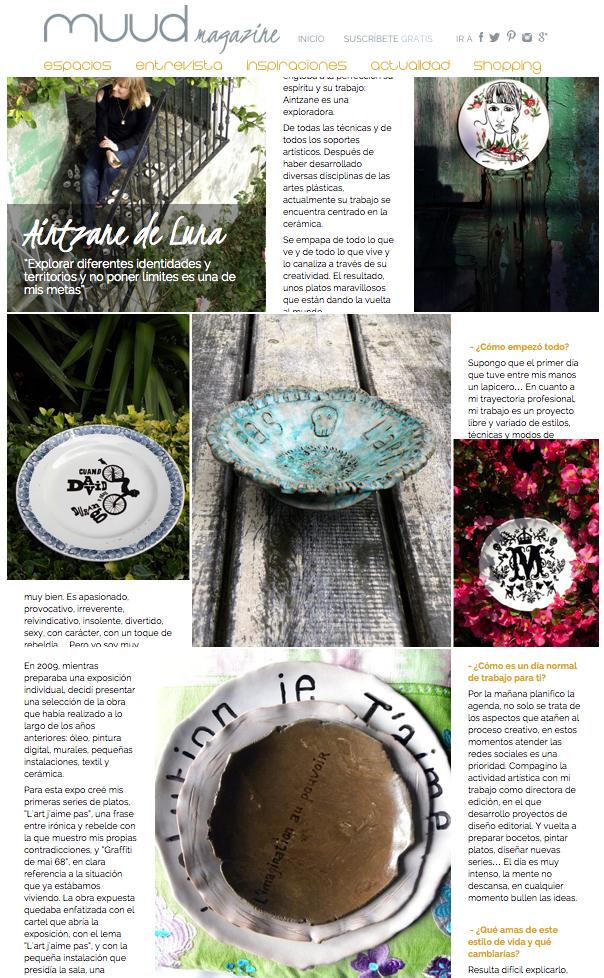 Reportaje de la ceramista Aintzane de Luna