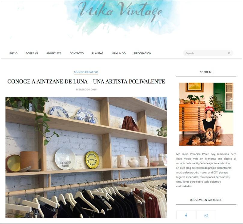 Aintzane De Luna en el blog de Nika Vintage