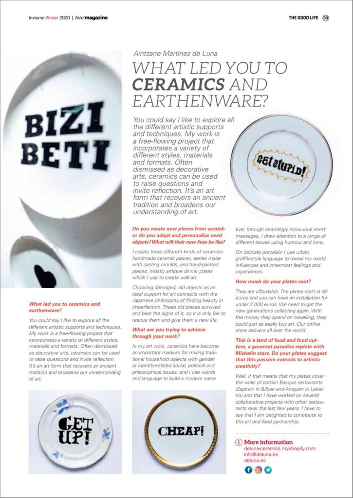 Deluna Ceramics in Tour Magazine